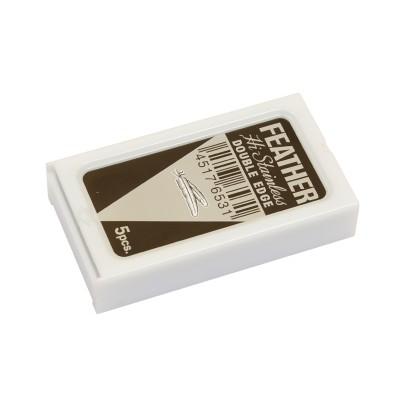FEATHER Platinum HI-STAINLESS Double Edge (DE) Razor Blades, 5pcs